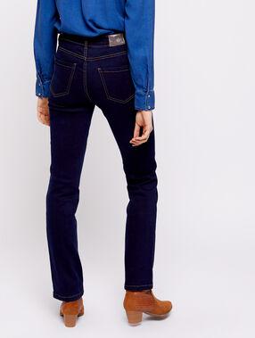 Jean droit bleu brut.