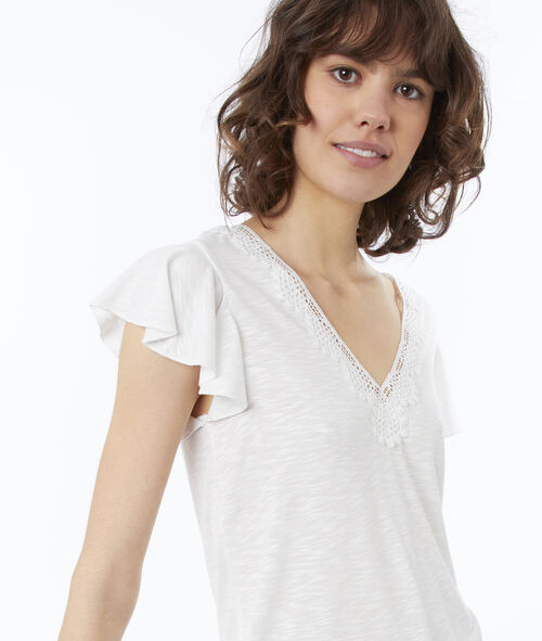 T-shirt col V à guipures