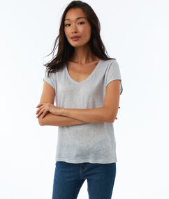 T-shirt en lin col v astral.