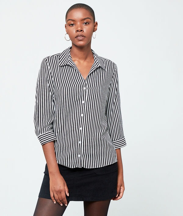 Chemise à rayures - FILY - 34 - Noir - Femme - Etam