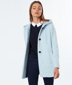 Manteau 3/4 à capuche en laine mélangée ciel.