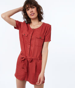 Combi-short avec 2 poches en tencel® rouge tomate.