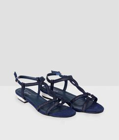 Sandales plates à paillettes bleu d'encre.