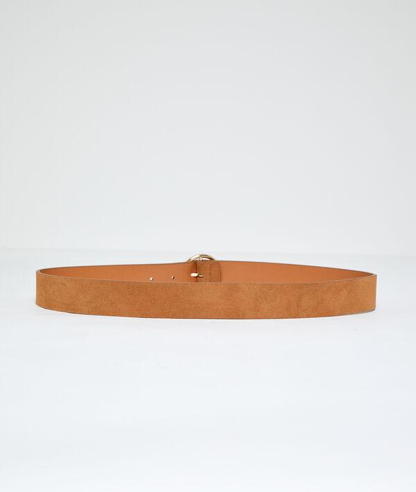 Ceinture boucle ronde en croûte de cuir