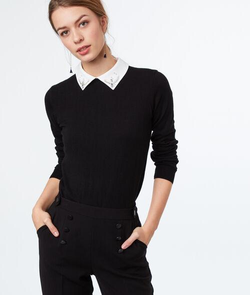 Pull à col chemise en coton