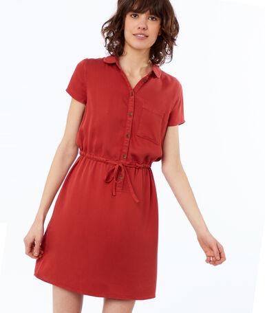 Robe avec poche en tencel® rouge tomate.