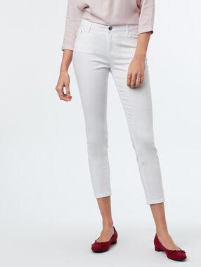 Pantalon 7/8 slim blanc.