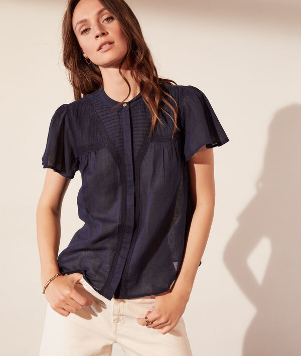 Chemise transparente manches courtes à volants