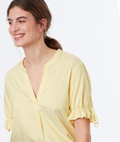 Top à rayures jaune.