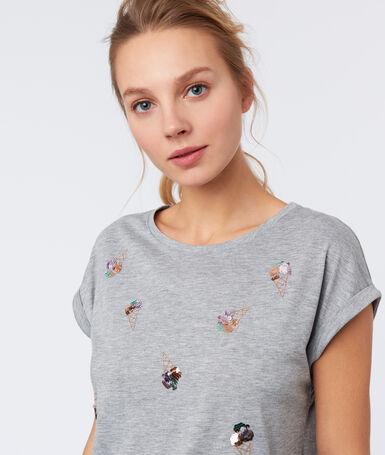 T-shirt sequins glaces gris clair.