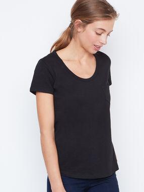 T-shirt col rond en coton noir.