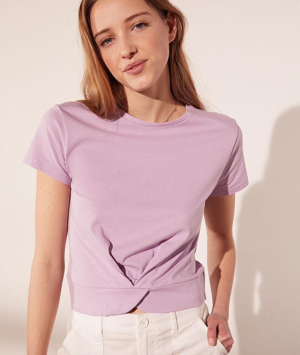 T-shirt court en coton bio effet torsadé - Kelly - XS - Violet - Femme - Etam