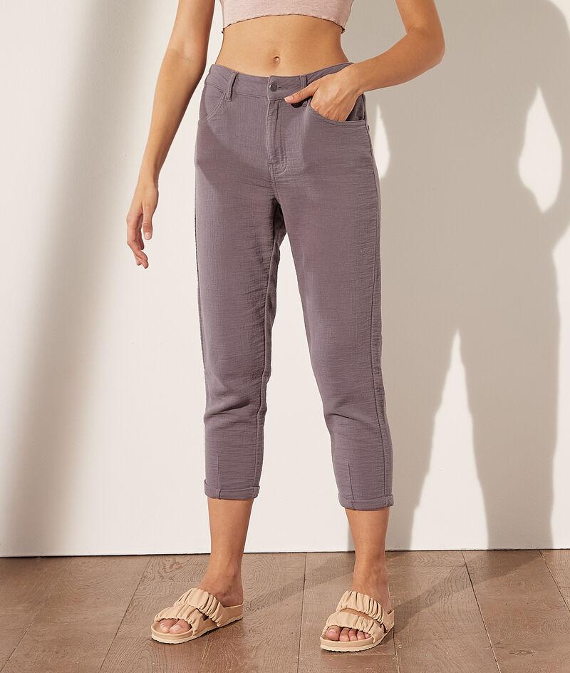 Pantalon chino en gaze de coton
