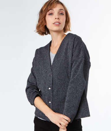 Veste à rayures métallisés gris.