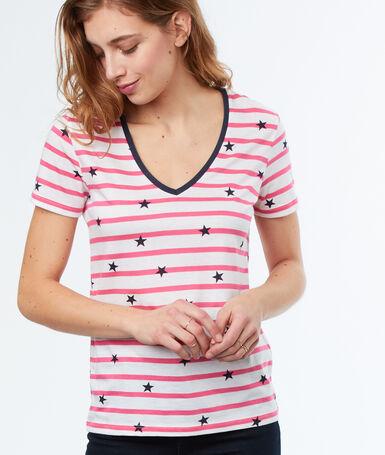 T-shirt col v à rayures rose.