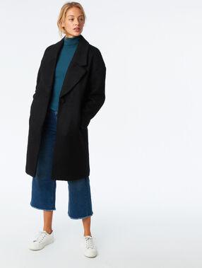Manteau oversize en laine mélangée noir.