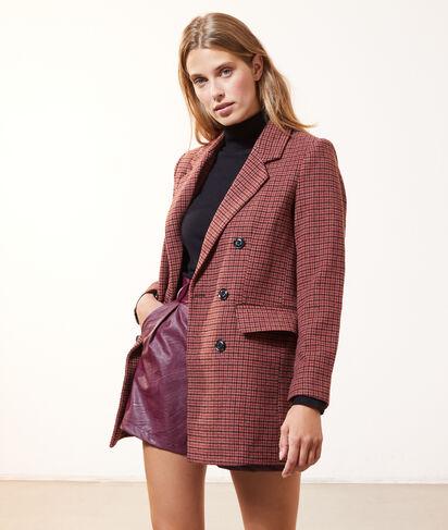 Manteau droit à carreaux