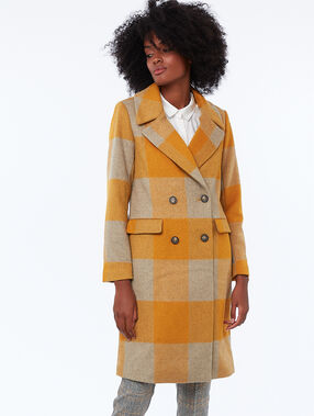 Manteau long à carreaux miel.