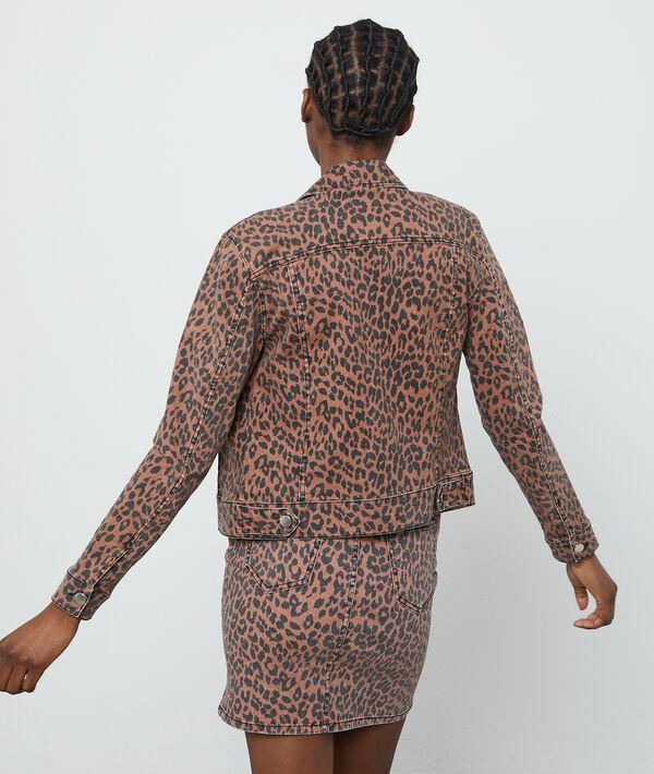 Veste en jean à imprimé léopard