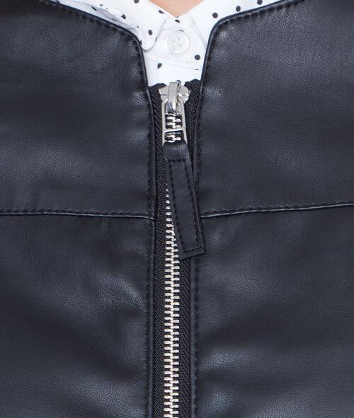 Veste à col rond effet cuir