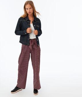 Pantalon large à rayures bleu/rouge.