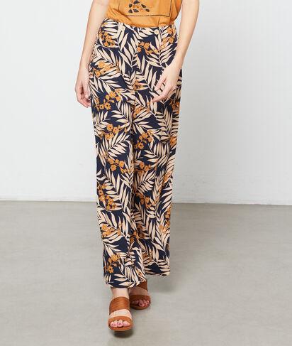Pantalon large à imprimé feuillage
