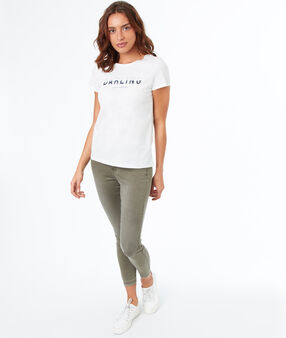 T-shirt imprimé en coton blanc.