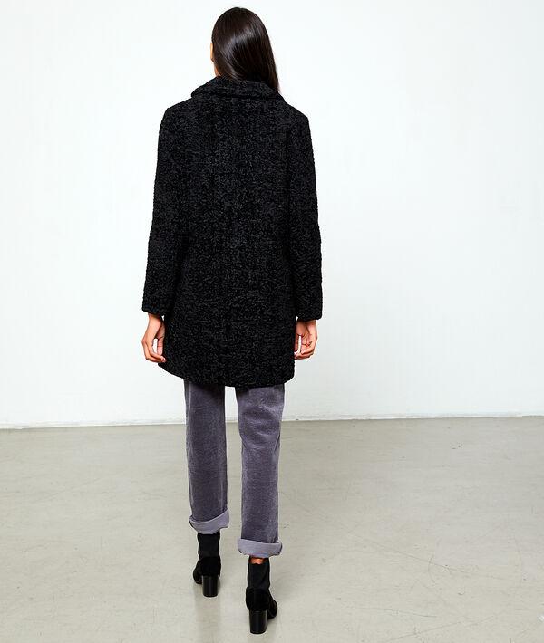 Manteau long effet peau lainée