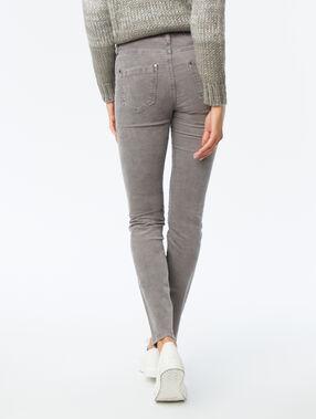 Pantalon slim en velours gris chiné foncé.