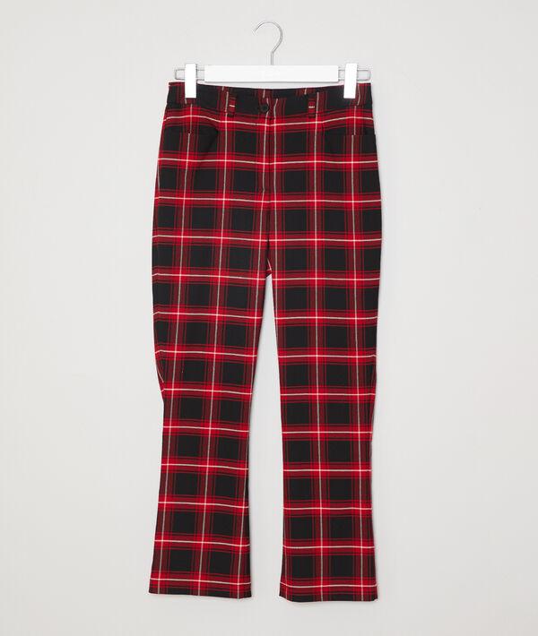 Pantalon flare à carreaux