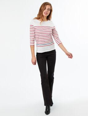 T-shirt col rond en coton rouge.