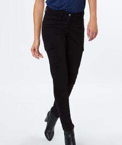 Slim en coton poches latérales noir.