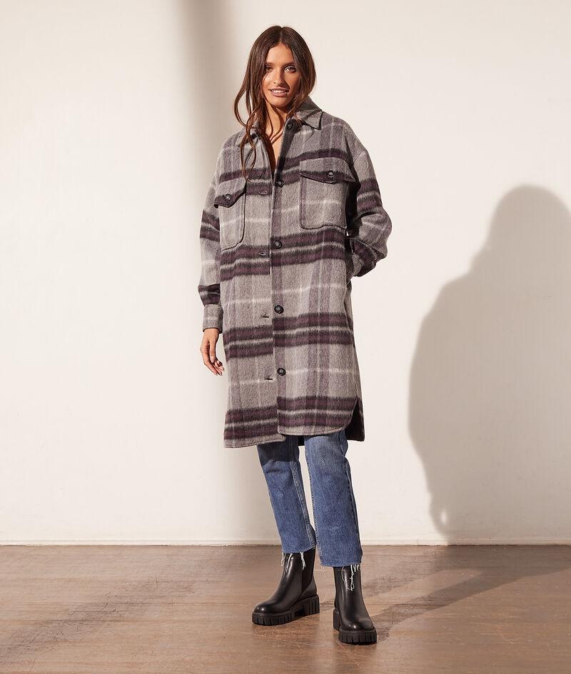 Manteau mi-long à carreaux