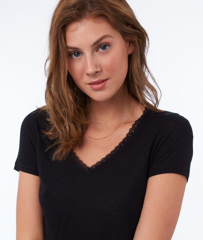T-shirt col v avec détails dentelle noir.