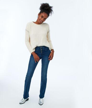 Jeans flare boutonné devant bleu brut.