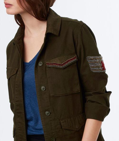 Veste militaire patchs perlés en coton