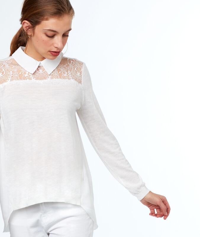 Pull col chemise 2 en 1 empiècement dentelle blanc.