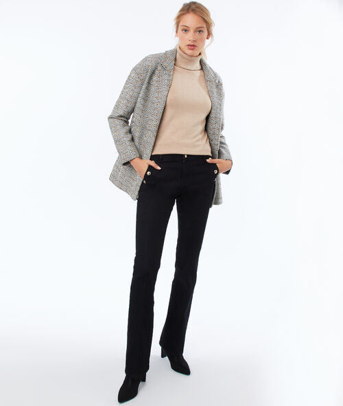 Manteau col tailleur motifs chevrons