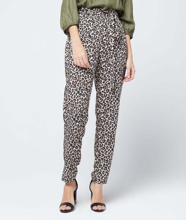 Pantalon carotte à imprimé léopard