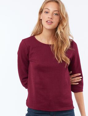 T-shirt manches 3/4 col bateau rouge anémone.