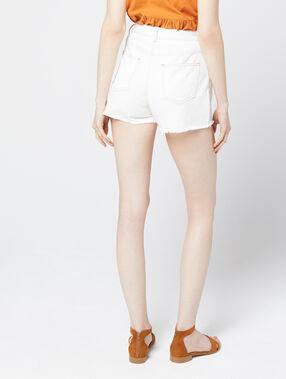 Short en jean à boutons blanc.