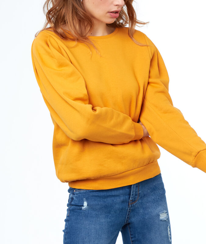 Sweat shirt col rond ocre.