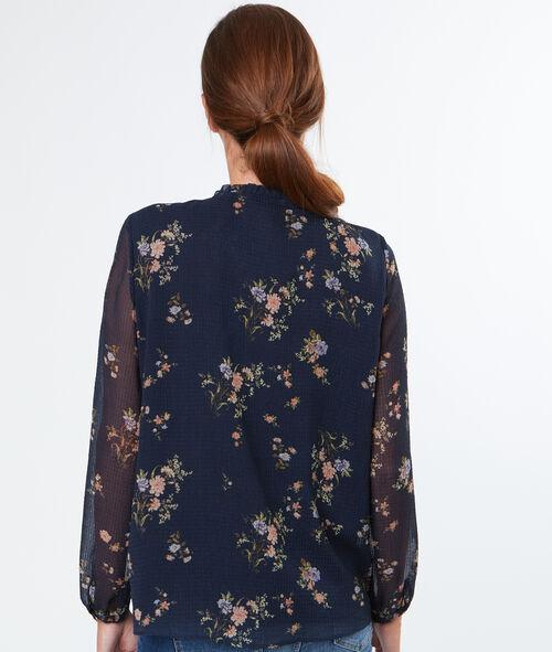 Chemise fleurie nouée au col