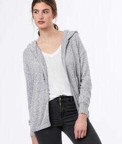 Sweat à capuche zippé gris.