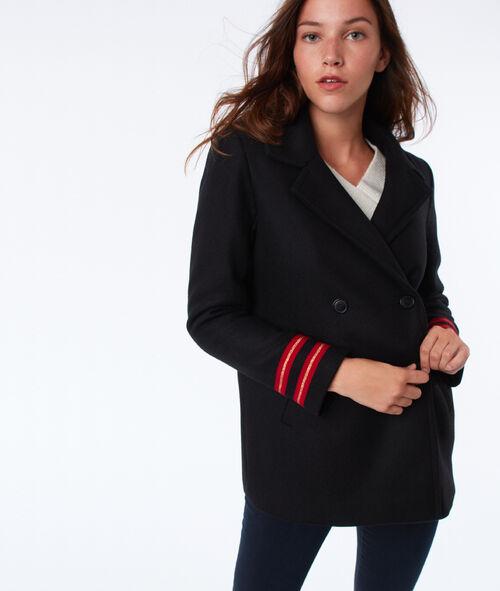 Manteau à bandes en laine mélangée