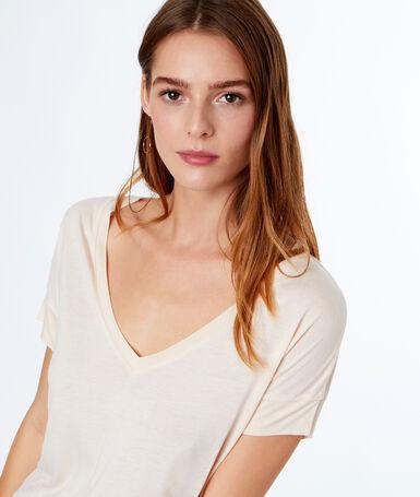 T-shirt col v ecru.