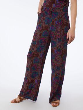 Pantalon large imprimé pourpre.