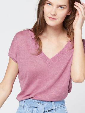 T-shirt maille fine à fils métallisés en lin vieux rose.
