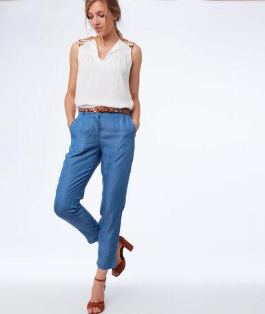Pantalon carotte en tencel® bleu délavé moyen.