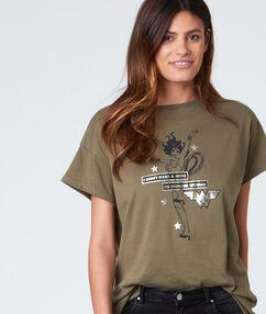 T-shirt col rond avec imprimé kaki.